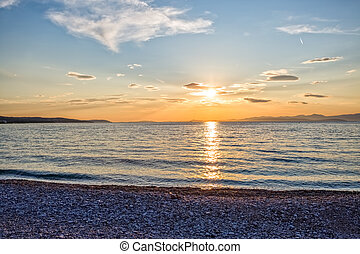 Supetar beach sunset - Beautiful summer sunset on the beach...