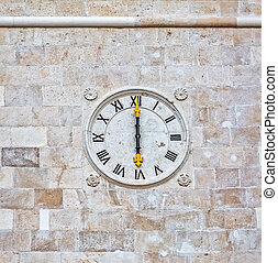 Supetar church clock - The old church stone clock at the...