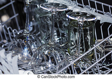 Kitchen dishwasher with wine glasses