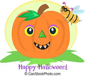 Halloween Pumpkin and Bee