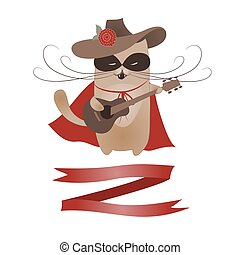 Funny cat Zorro Valentine. Vector romantic greeting card