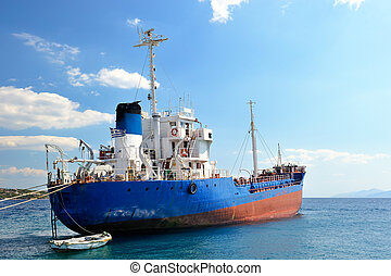 Moored cargo ship - Picture of a moored empty cargo ship