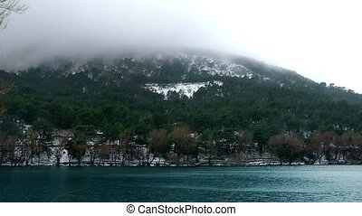 Snow on Mountain and Lake in Winter - Snow on Mountain and...