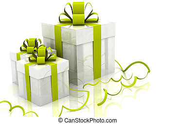 boxes with christmas gifts - 3d Illustration of boxes with...
