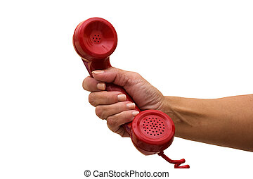 Answering the Telephone - A hand holding a red handset of a...