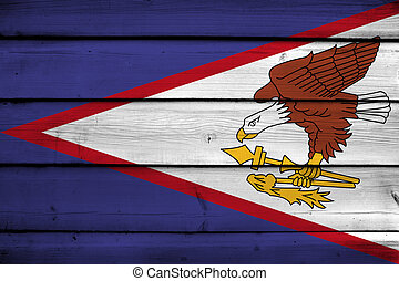 American Samoa Flag on wood background