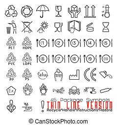 Collection of 45 Packaging Symbols(recycle, handle, instructions, hazard). Black.