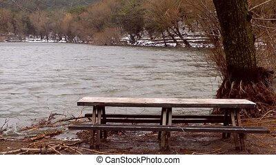 Wooden Seat Bench near the Lake