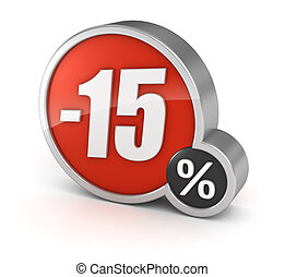 Discount 15% sale 3d icon on white background - 15% sale, 3d...