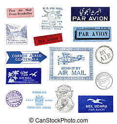 Vintage postage stamps and airmail labels from all over the...