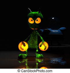 cartoon alien - quality 3d render of cartoon alien
