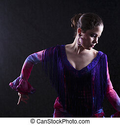 Woman Dancing Flamenco in Red Violet Attire - Close up...