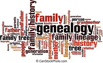 Genealogy word cloud concept Vector illustration