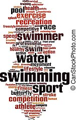 Swimming word cloud concept Vector illustration