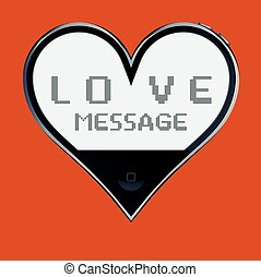 Love message - Heart shaped telephone: love message.
