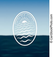 Sea Shell - Badge concept:The Sea Shell on Blurred Ocean