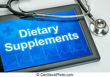 Tablet with the text Dietary Supplements on the display