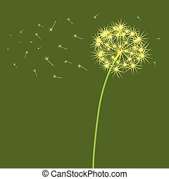 The dandelion which is blown a wind on a light green...