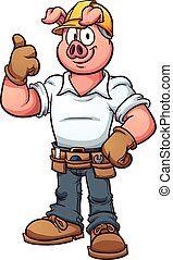 Construction worker pig - Construction worker pig. Vector...