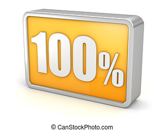100% 3d icon on white background - 100%, hundred percent, 3d...