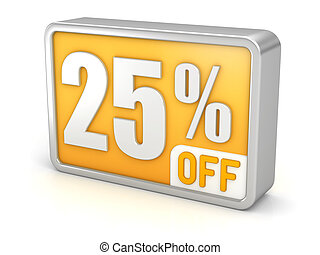 Discount 25% sale 3d icon on white background