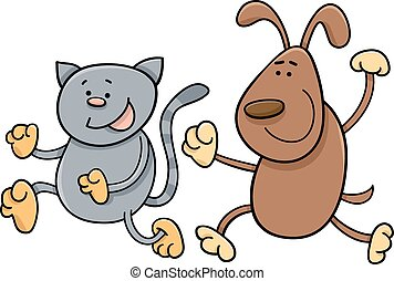 cat and dog playing tag cartoon - Cartoon Illustration of...