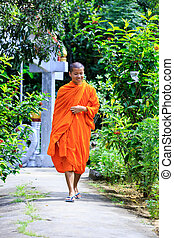 Young Buddhist Monk Walking To The Camera - Young Buddhist...