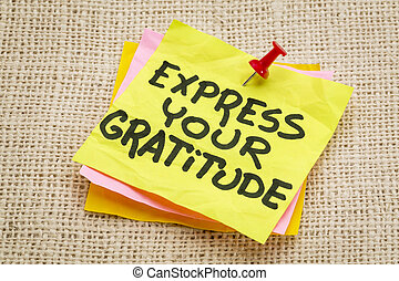 express your gratitude - advice on a sticky note against...