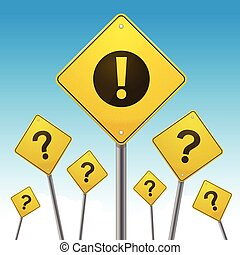 Road Signs - Yellow road signs with question marks and...