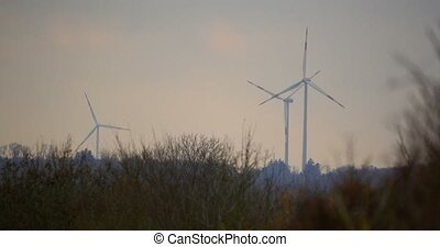 4K, 3 Power Poles, Wind Mills, Power Plant