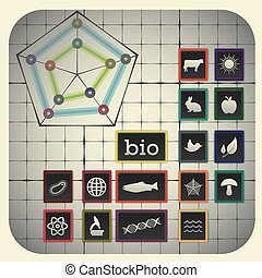 16 Infographic elements with graph background including...