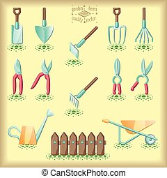 Gardening tools set of illustration