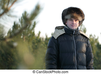 Man in fur hat
