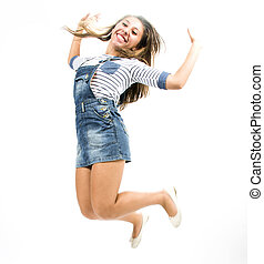 Beautiful teen girl in expressive poses