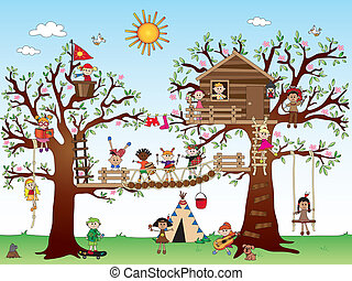 tree house with children - illustration of tree house with...