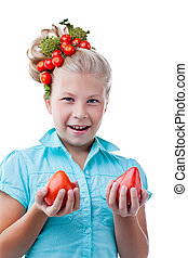 Funny girl with tomatoes, isolated on white