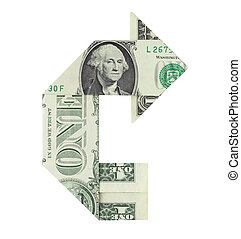 Financial U-Turn - Dollar bill folded in the shape of a...