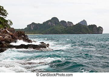 Phi Phi Island coastline and Andaman Sea in Thailand.