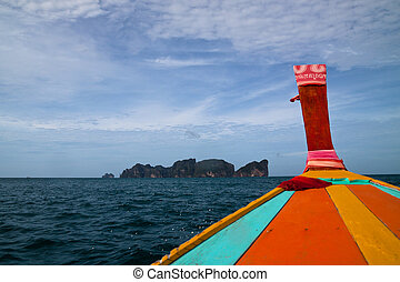 Phi Phi Island - Detail of long tail boat and beautiful...