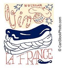 francais, Célébration, carte, à, éclair,