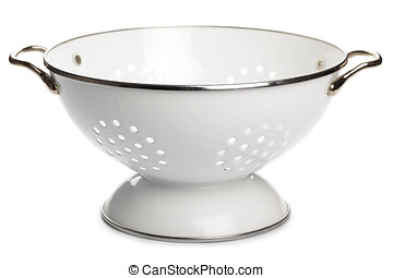 Colander - White enamel colander isolated on white...
