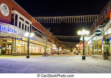 View of small swedish town - View of the center of small...