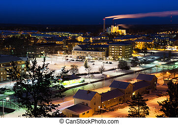 View of small swedish town - View of small swedish european...