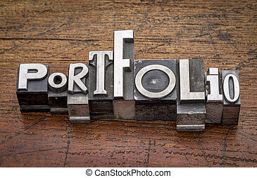 portfolio word in metal type - portfolio word in mixed...