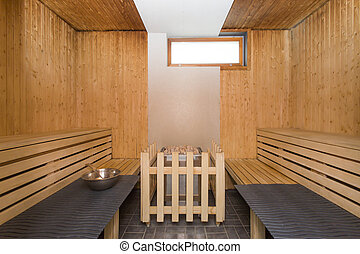Sauna interior - Relax in a hot finnish sauna - Sauna...