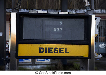 Diesel station - Old diesel station, close up, horizontal...