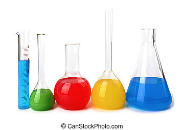test tubes with colorful liquids isolated on white...
