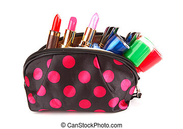 cosmetics - Make up bag with cosmetics isolated on white...