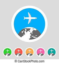 Airplane travel world, globe, tourism icon