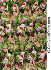 background with choice of canape